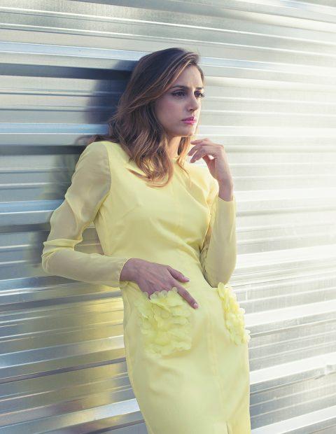 vestido coctel amarillo