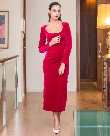 vestido terciopelo rojo corte midi