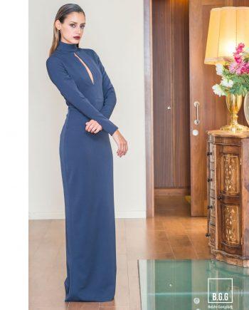 vestido largo azul noche