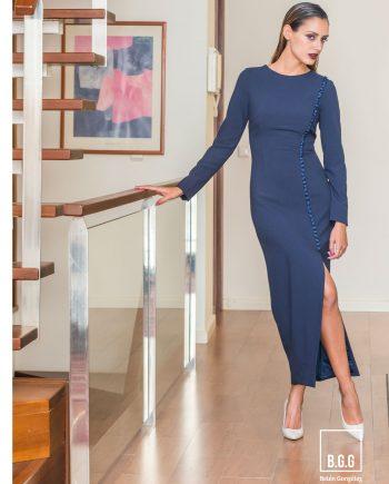 vestido coctel azul noche