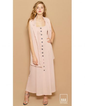 Chaqueta y vestido largo rosa