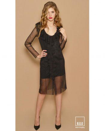 vestido negro de plumeti