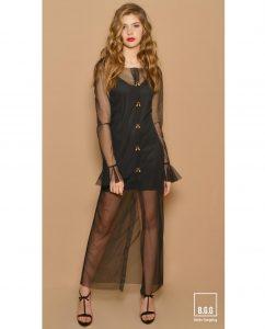 vestido largo negro tul