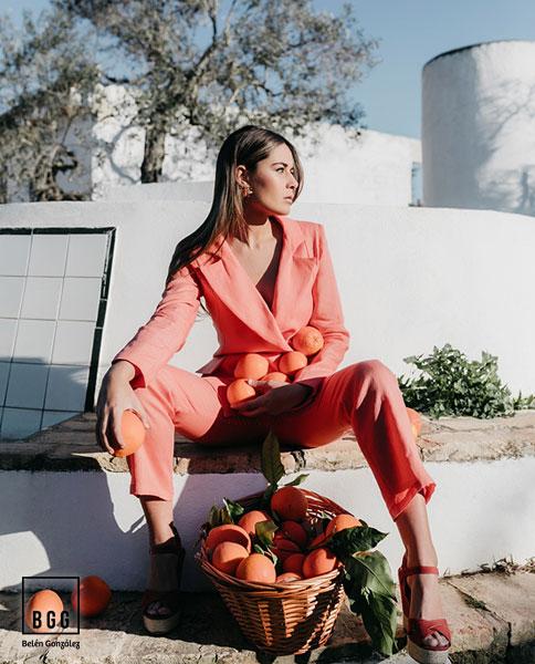 Traje de fiesta naranja Florella