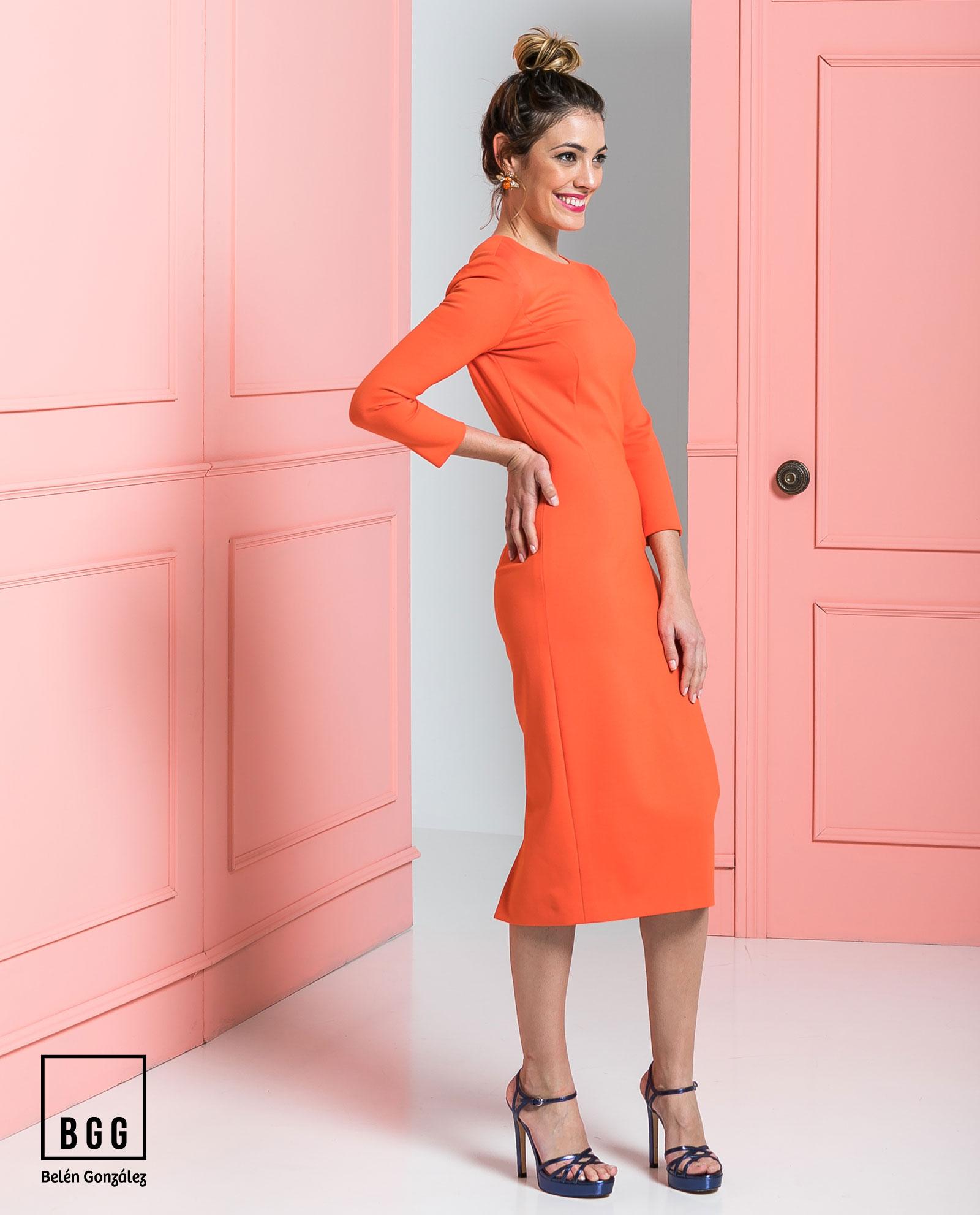 Bonito Vestidos De Fiesta Naranja Ilustración - Colección del ...