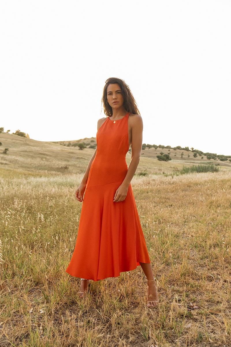 Vestido Cartagena Naranja confeccionado en satén